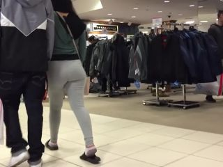 Huge teen bubble butt in grey leggings
