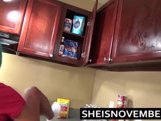 Ebony Teen make blowjob and fuck with her bf in Kitchen HD 2018