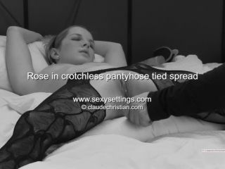Rose in crotchless pantyhose tied spread clitoris stimulation