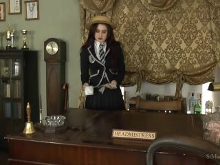 Saint Mackenzie's – Cute School Girl Lola Plays with Silver Satin Gloves While Stripping Off Her Uniform