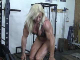 Lacey Shows Off Her Big Muscles. And Her Big Clit.
