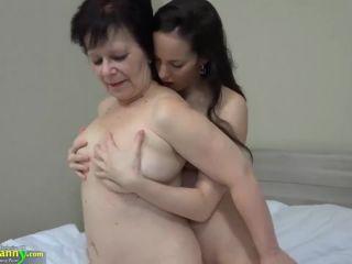 Hot girl with strapon fucks big fat granny