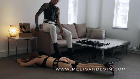 Melisande Sin starring in video (Strap on slave training  – Female Slave vs Male slave) [HD 720P]