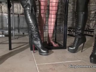 Dual Domination – Dirty Dommes – Caged boot and glove slave milked part 1 – Fetish Liza and Miss Miranda