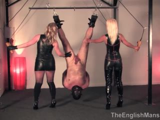 BITCH WORLD FEMDOM  Suspended Inverted Whipped. Starring Mistress Vixen and Mistress Sidonia