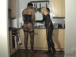 Leather – FemmeFataleFilms – Kitchen Caning – Part 1 – Mistress Akella
