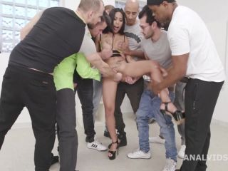 Big silicone tits girl Polly Pons ruined anal and creampie after DAP