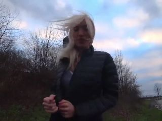 Blonde german in black puffy jacket sex