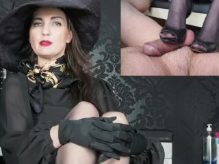 Satin Gloves – GERMAN FEMDOM Lady Victoria Valente – Splitscreen: Horny cock ruined orgasm – Under my soles