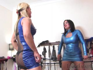 Femme Fatale Films – Bastinado Ball Busting Bitches – Complete Film. Starring Mistress R eal and Mistress Athena  foot worship  high heels  leather  leather mini skirt