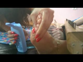TickleNail - Oily feet in stocks tickled - sweet Juliet and Tixi
