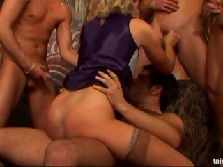 Cock Craving Cutie Gets A Whole Cock Squad