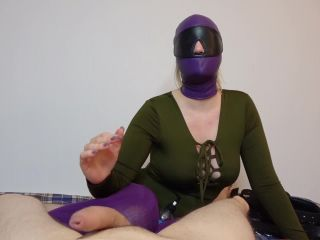 Masked sexy slave gives an edging and blindfolded handjob with lots of ...