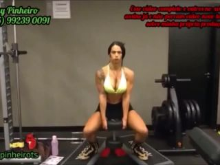 Fit transsexual Rosy Pinheiro workout for body and for cock –