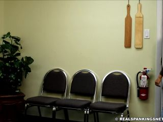 4 blushing cheeks - John punished by two girls part 2 paddling cheek spreading and probing